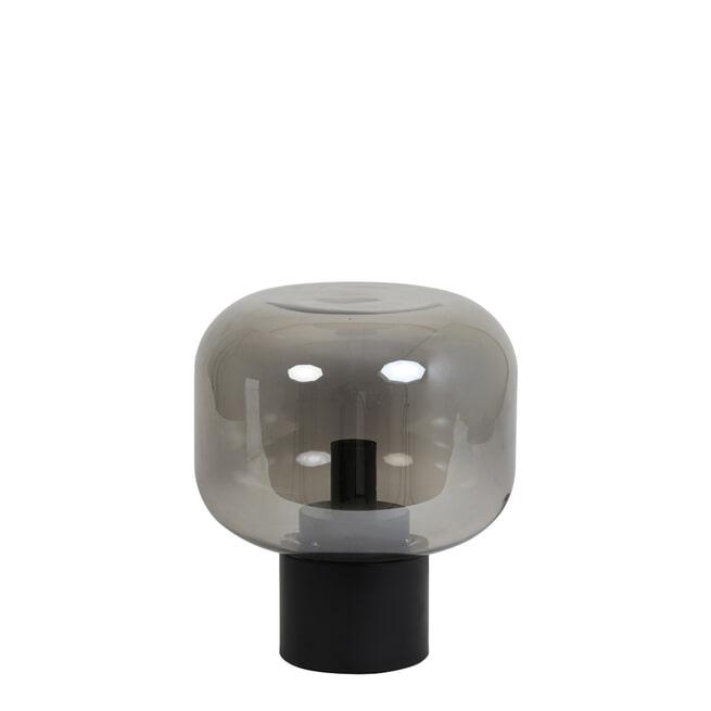 vtwonen Tafellamp 'Arturan', glas smoke grijs+mat zwart, kleur