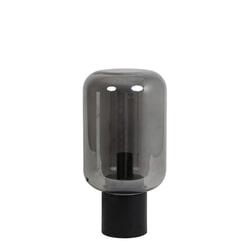 Light & Living Tafellamp 'Arturan', glas smoke grijs+mat zwart, kleur
