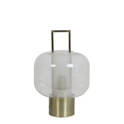 Light & Living Tafellamp 'Arturos', glas helder+brons