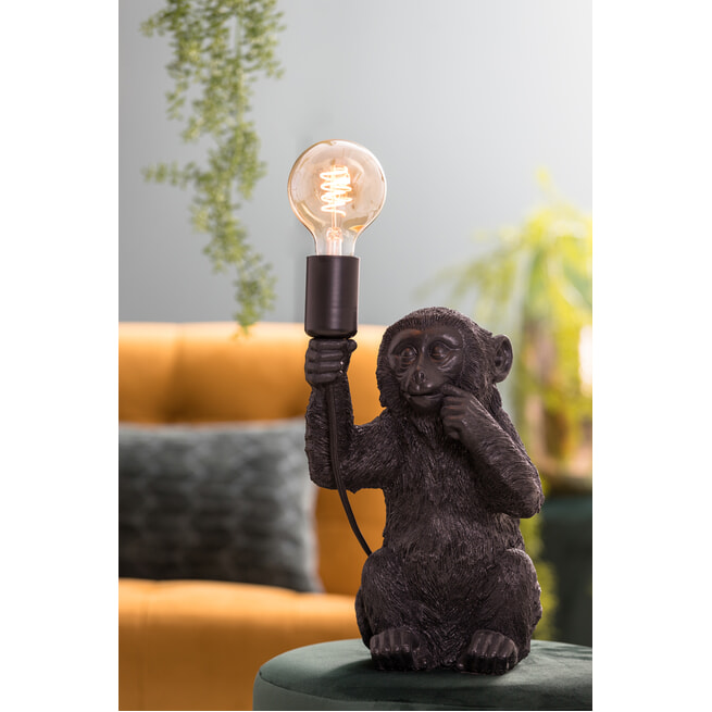Light & Living Tafellamp 'Monkey', zwart