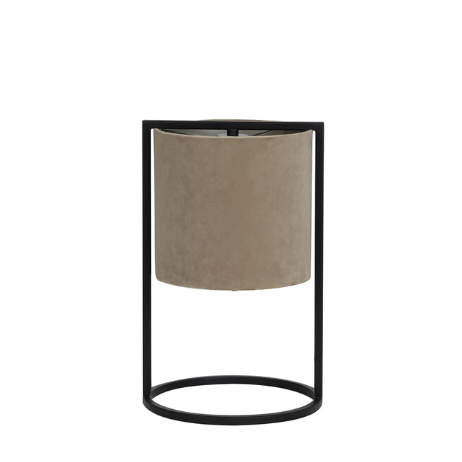 Light & Living Tafellamp 'Santos', mat zwart+kap licht bruin
