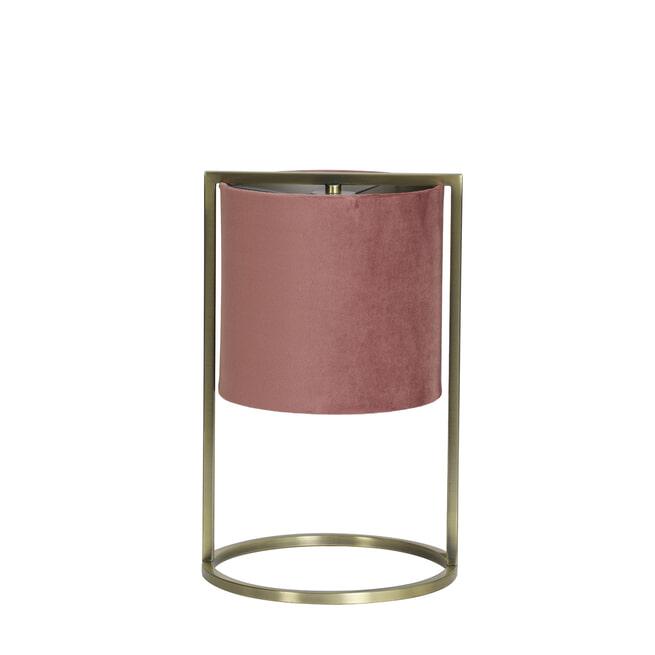 Light & Living Tafellamp 'Santos', antiek brons+kap oud roze
