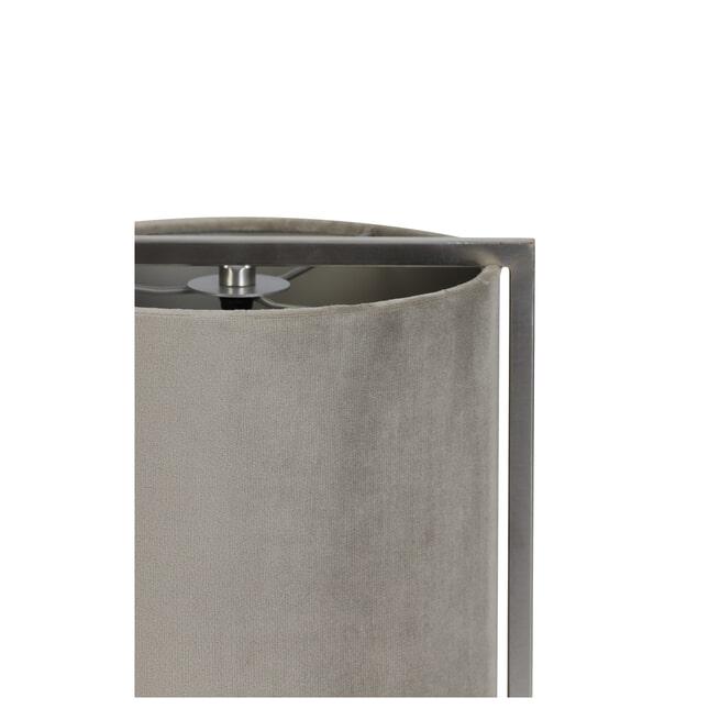 Light & Living Tafellamp 'Santos', nikkel+kap grijs-taupe