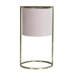 Light & Living Tafellamp 'Santos', antiek brons+kap licht roze