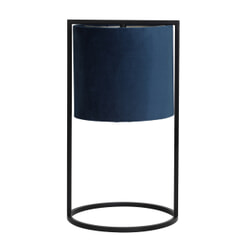 Light & Living Tafellamp 'Santos', mat zwart+kap petrol blauw