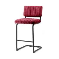 By-Boo Barstoel 'Operator' (zithoogte 68cm) Velvet, kleur Rood