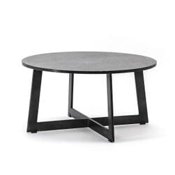 By-Boo Ronde Salontafel 'Major' Marmer 70cm, kleur zwart