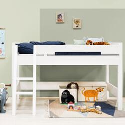 Bopita Halfhoogslaper met schuine trap 'Combiflex' 90 x 200cm, kleur wit