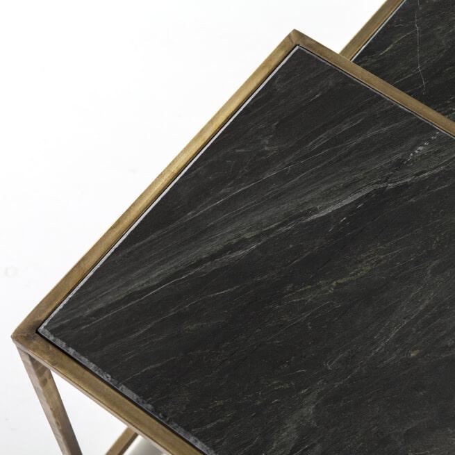 By-Boo Salontafel 'Caesar' Set van 3 stuks, kleur Zwart Marmer