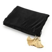 By-Boo Plaid 'Royalty' Velvet 170 x 140cm, kleur Zwart / Goud