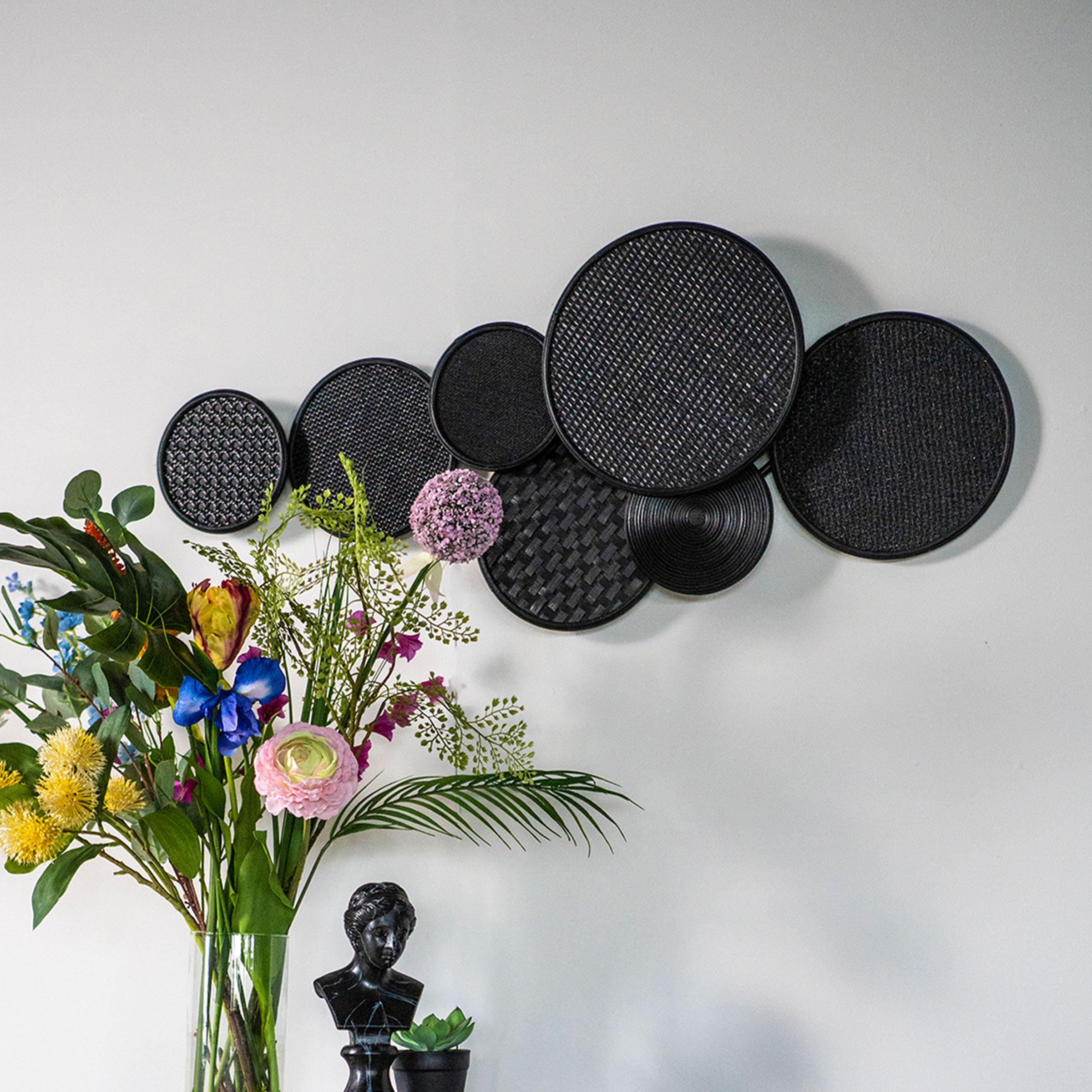 By-Boo Wanddecoratie 'Round & Round' 43 x 103cm, kleur Zwart