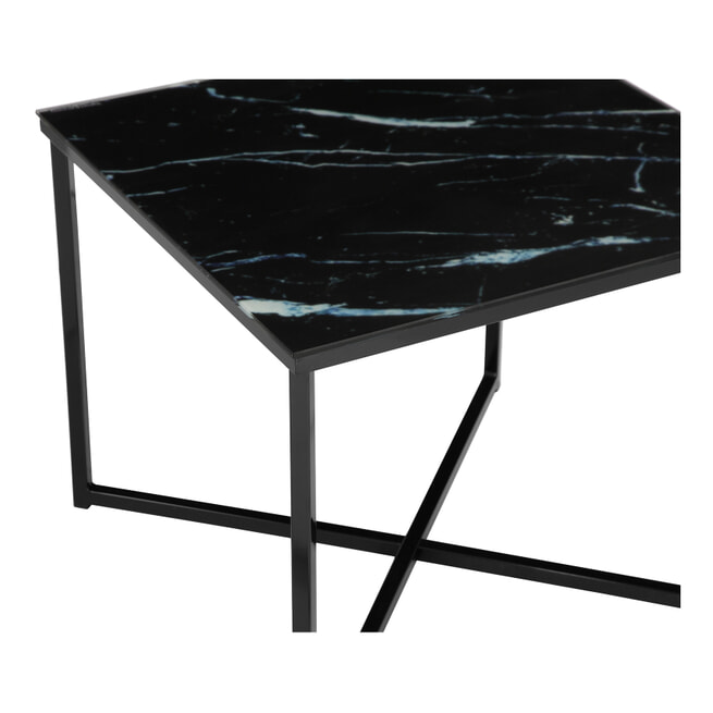 Artistiq Bijzettafel 'Lois', 50cm, Marmerlook, kleur Zwart