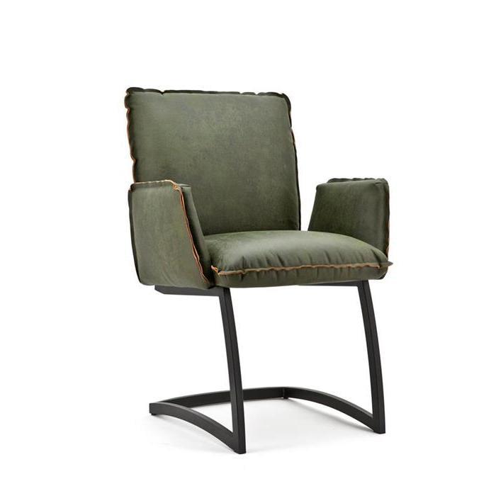 Sohome Eetkamerstoel 'Harald' Eco-leder met metaal, kleur groen