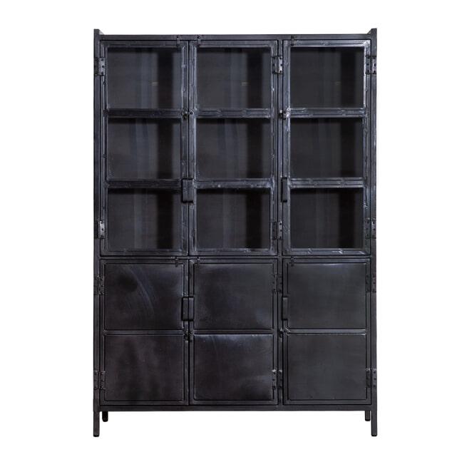 Eleonora Industriële opbergkast 'Steel' met 6 deuren, kleur zwart