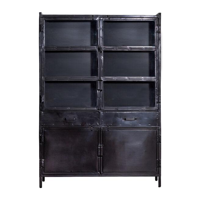 Eleonora Industriële opbergkast 'Steel' met 4 deuren, kleur zwart