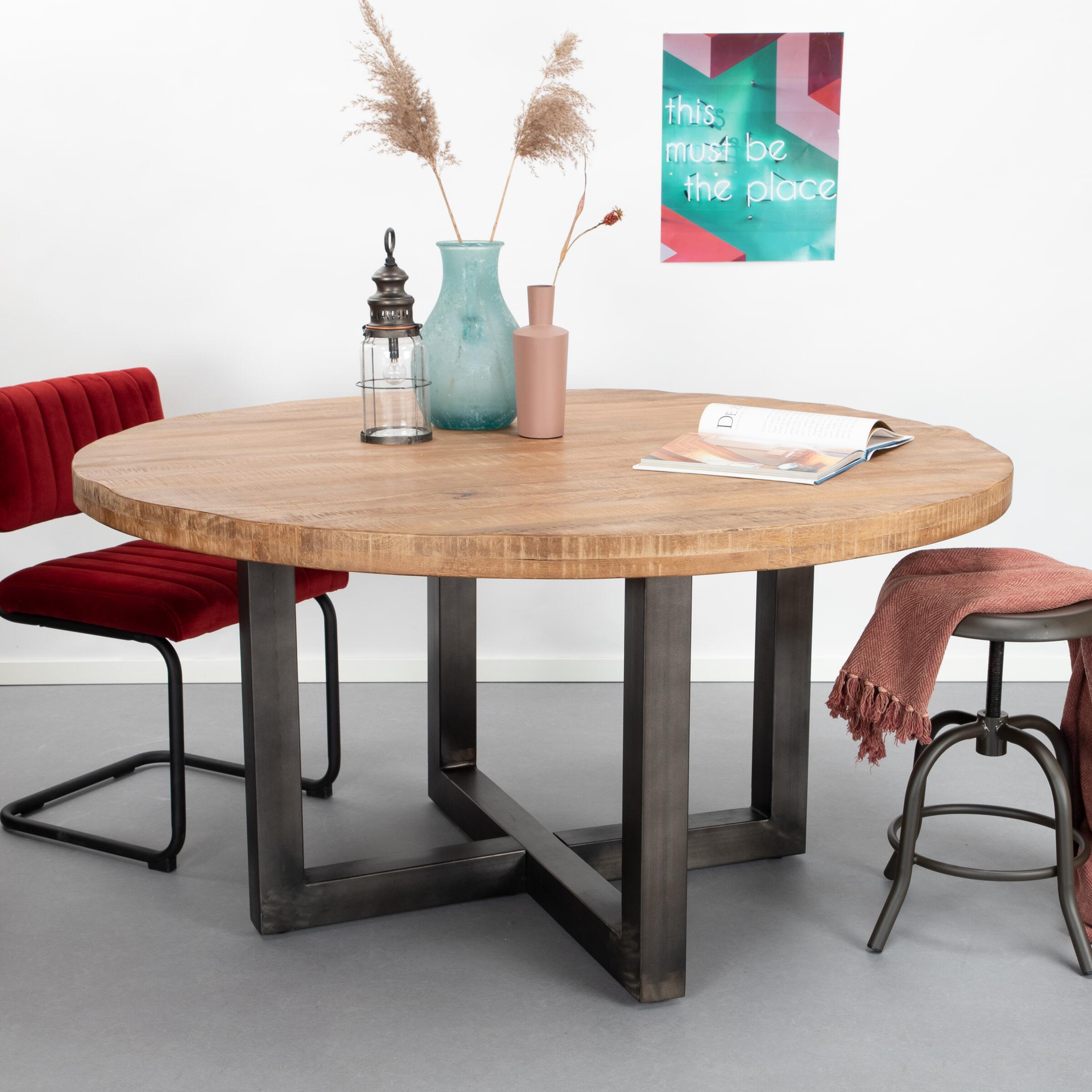 SoHome Ronde Eettafel 'Sigurd' mango en staal, 130 cm