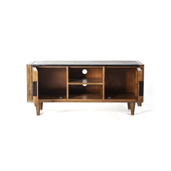 Eleonora TV-meubel 'Carter' Mangohout en marmer, 125cm