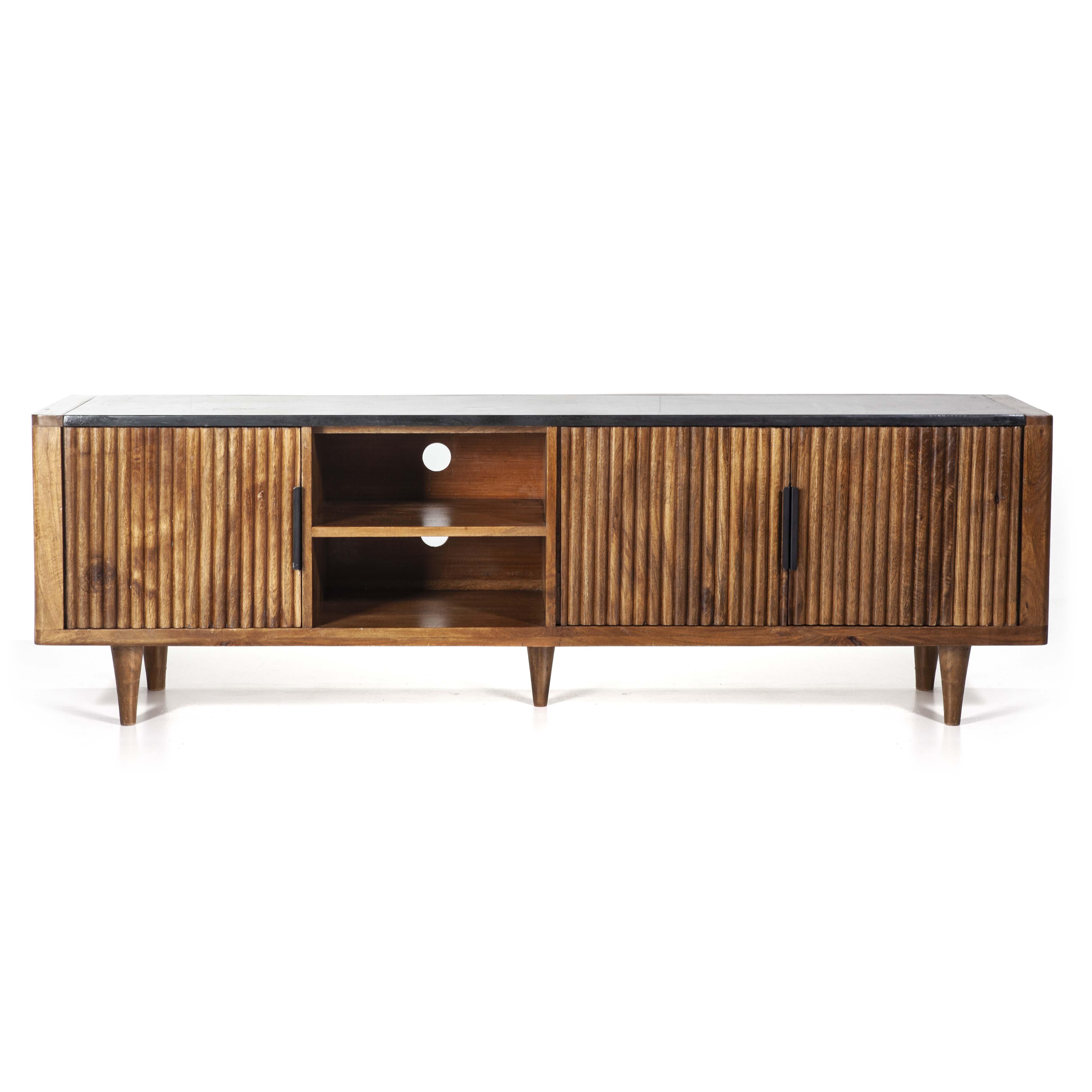 Eleonora TV-meubel 'Carter' Mangohout en marmer, 180cm met voordeel snel in huis via Meubel Partner
