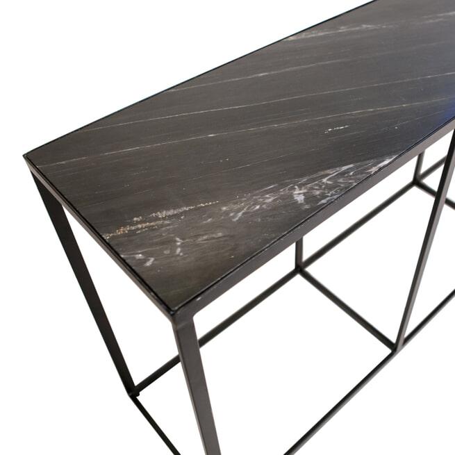 Eleonora Sidetable 'Marble' Zwart marmer, 180 x 40cm