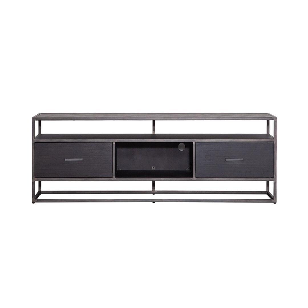 Eleonora TV-meubel 'Hudson' 150cm, Acaciahout en metaal, kleur zwart