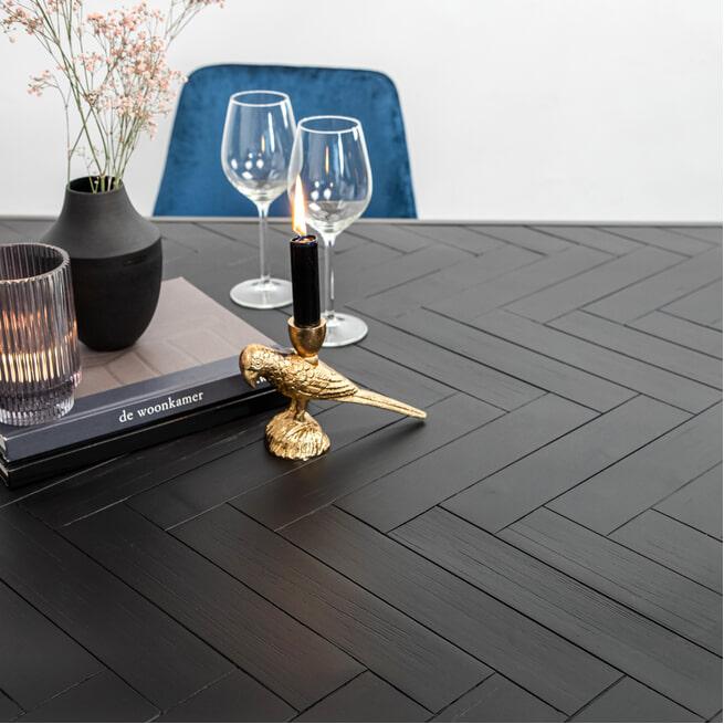 Eleonora Eettafel 'Hudson' Acaciahout en metaal, kleur zwart