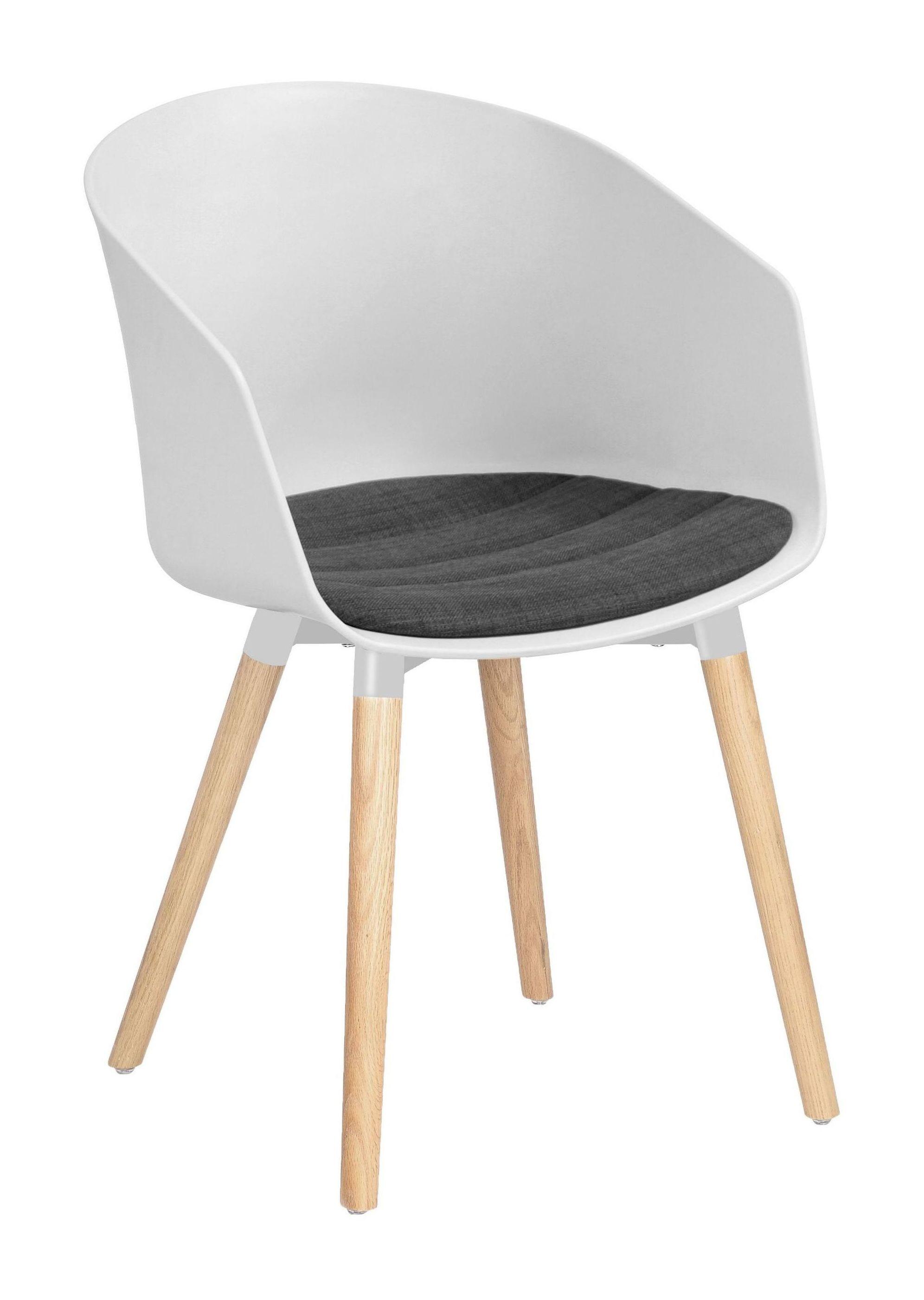Interstil Eetkamerstoel 'Moon' houtlook, kleur wit