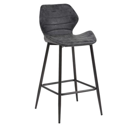 Barstoel 'Bela' Wax / PU (zithoogte 70cm), kleur zwart