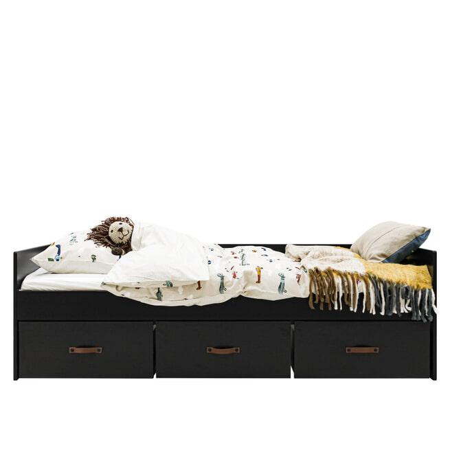 Bopita Bedbank 'Floris' 90 x 200cm, kleur mat zwart / naturel