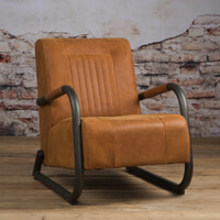 Tower Living fauteuil 'Barn' Leder, kleur Danza Rust