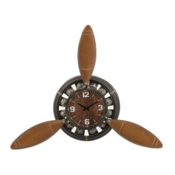 J-Line Klok 'Sibilla' Vliegtuigschroef, kleur Bruin / Zwart