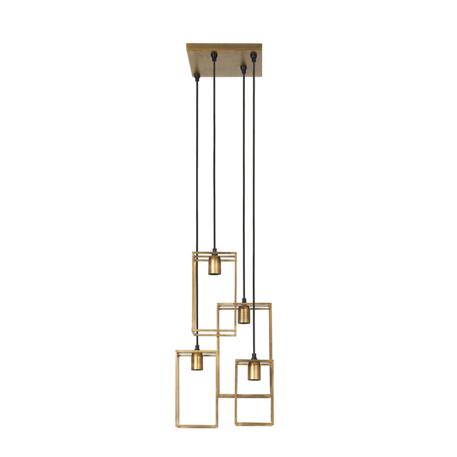 Light & Living Hanglamp 'Marley' 4-Lamps, kleur Antiek Goud
