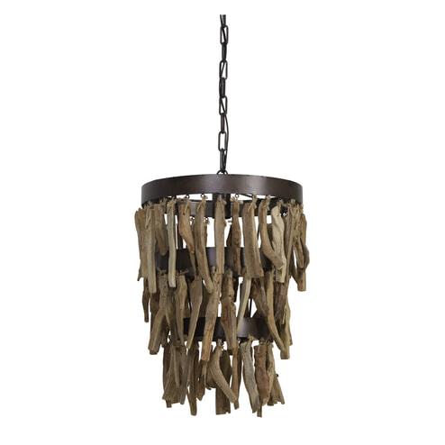 Light & Living Hanglamp 'Jaloe' 36.5cm, bruin-hout naturel