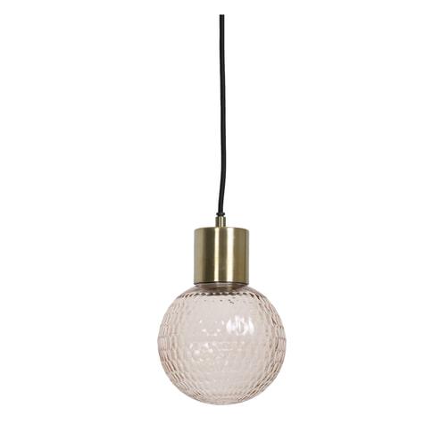 Light & Living Hanglamp 'Donya' 15cm, glas licht roze+antiek brons