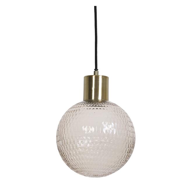 Light & Living Hanglamp 'Donya' 20cm, glas licht roze+antiek brons