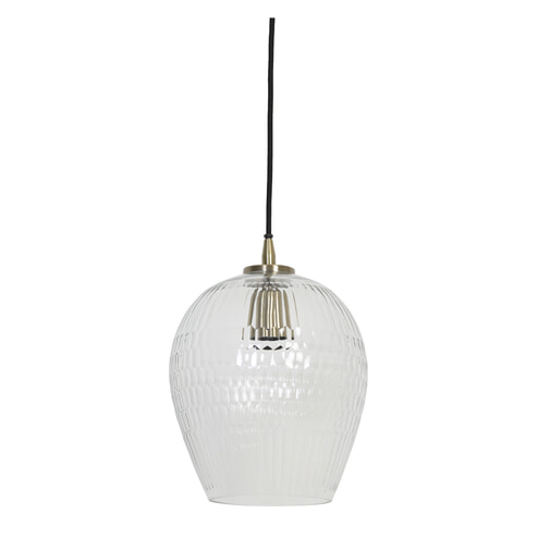 Light & Living Hanglamp 'Dante' 22cm, glas antiek brons