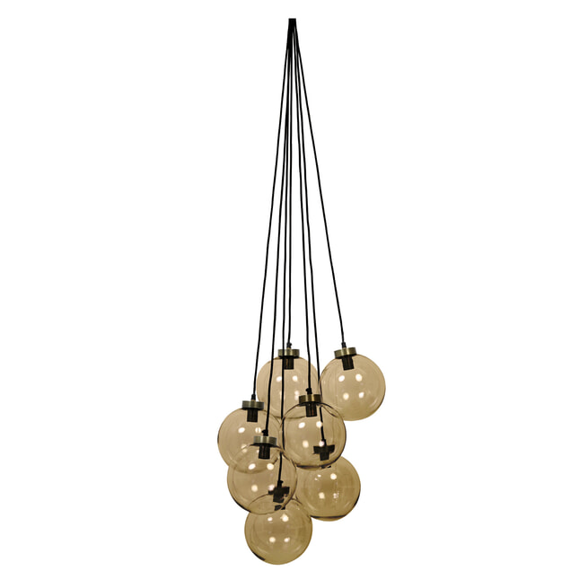 Light & Living Hanglamp 'Alvida' 7-Lamps, glas bruin-antiek brons