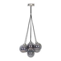 Light & Living Hanglamp 'Alvida' 7-Lamps, glas smoke-nikkel satijn