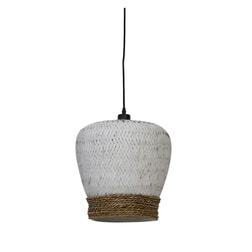 Light & Living Hanglamp 'Mikki' 34cm, rotan wit