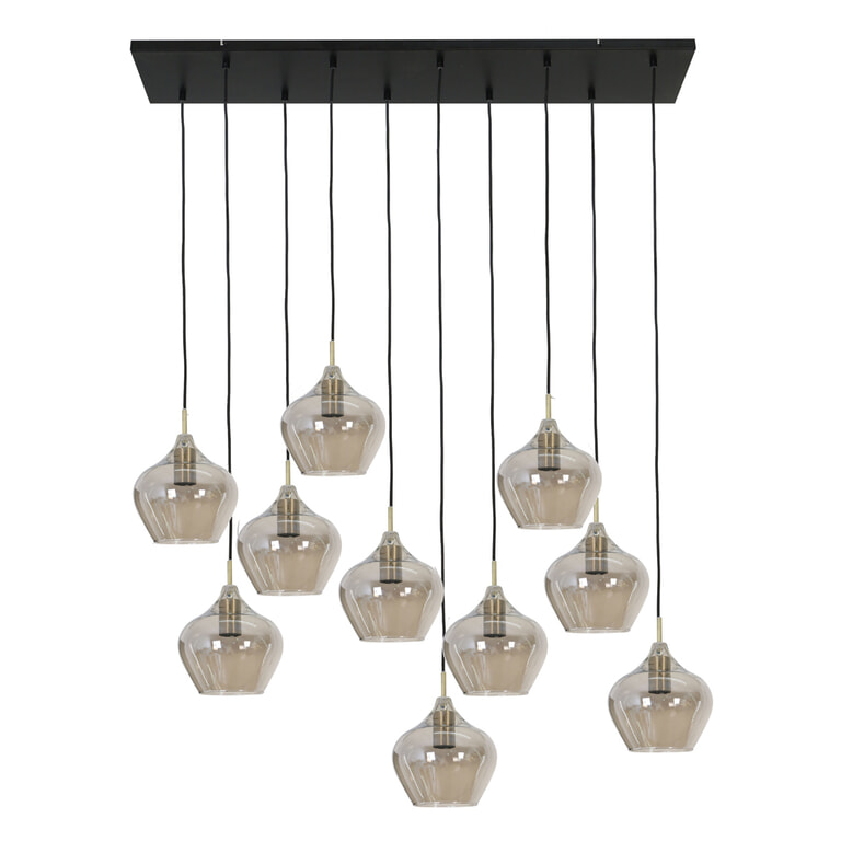Light & Living Hanglamp 'Rakel' 10-Lamps, kleur Antiek Brons / Smoke