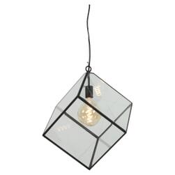 Light & Living Hanglamp 'Xavi', mat zwart+glas