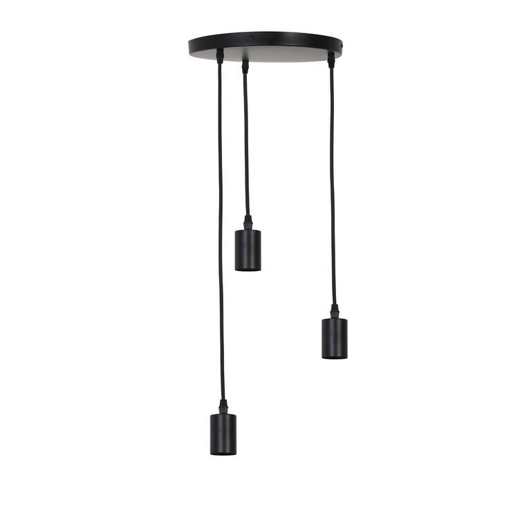 Light & Living Hanglamp 'Brandon' 3-Lamps, mat zwart