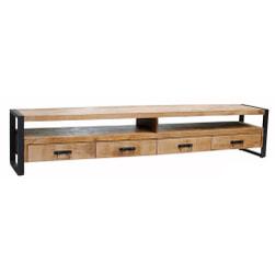 LivingFurn TV-meubel 'Strong' Mango en staal, 250cm