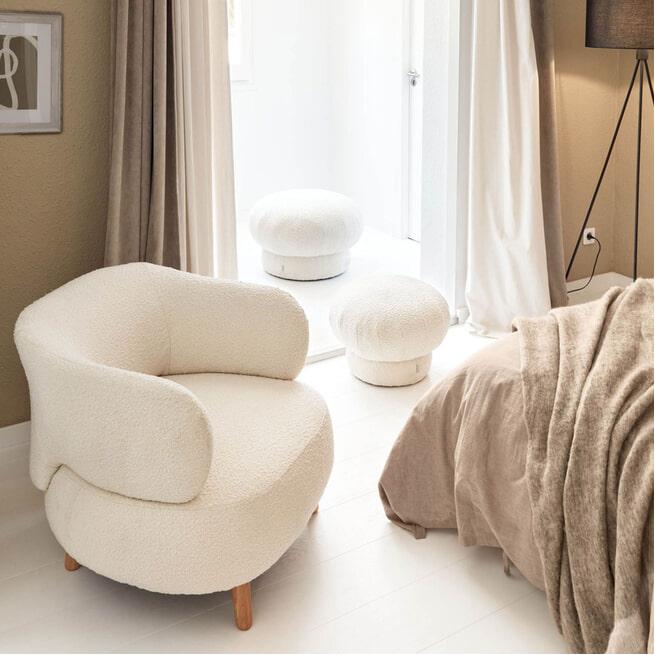 Kave Home Fauteuil 'Luisa' Bouclé, kleur Wit