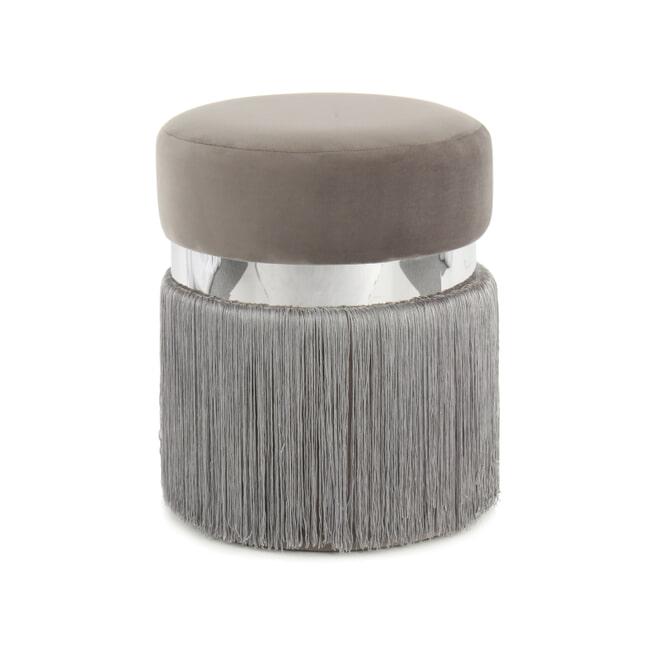 Kayoom Poef 'Rebecca' Velvet met franjes, 38cm, kleur grijs / zilver