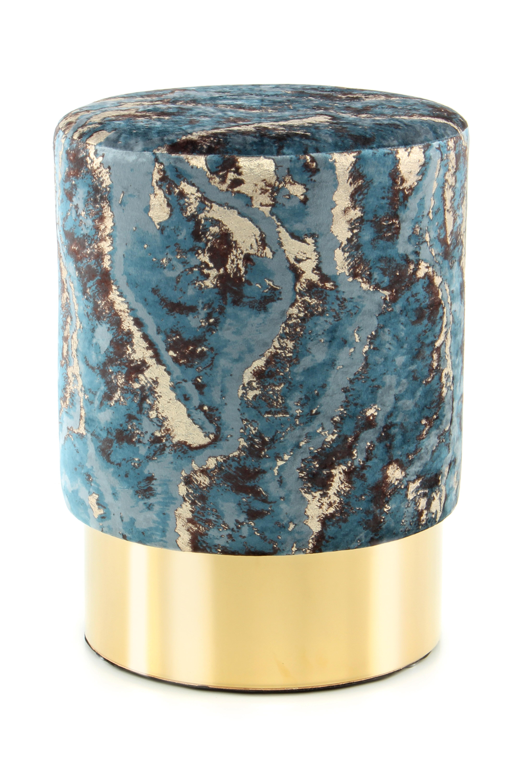 Kayoom Poef 'Amber' 35cm, kleur petrol / goud