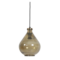 Light & Living Hanglamp 'Ilze' 25cm, glas bruin-antiek brons