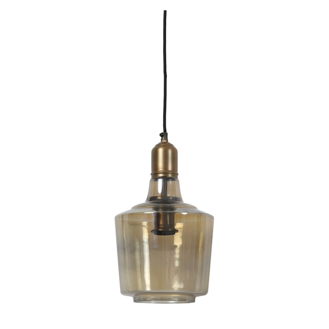 Light & Living Hanglamp 'Yole' 21cm, glas bruin-antiek brons