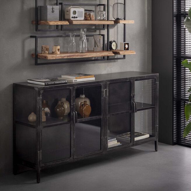 Industrieel Dressoir 'Rift Metal' 180cm met 4 glazen deuren
