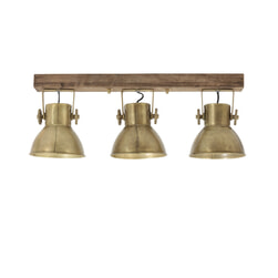 Light & Living Hang-/wandlamp 'Elay' 3-Lamps, hout weather barn+brons