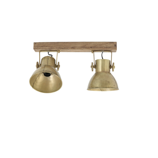 Light & Living Hang-/wandlamp 'Elay' 2-Lamps, hout weather barn+brons